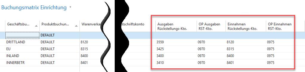 Xfreight Buchungsmatrix Einrichtung