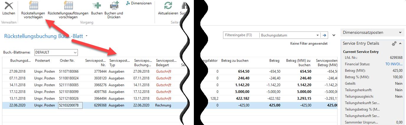 Xfreight Rückstellungsbuchung / Buchungsblatt / Vorschlagen
